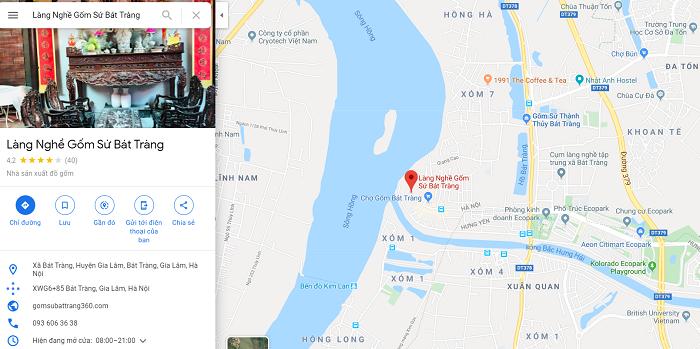 Địa chỉ làng gốm sứ Bát Tràng trên google maps
