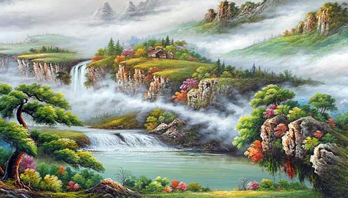 tranh sơn thủy hoành tráng