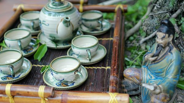 Bộ ấm chén uống trà cá chén xanh