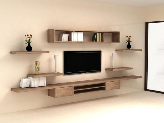 Lựa chọn kệ tivi có màu sắc hài hòa với sơn tường để căn phòng trở nên thẩm mỹ hơn